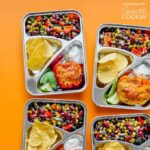 portioned lunches in silver containers