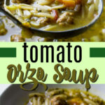 italian sausage tomato orzo soup pin image