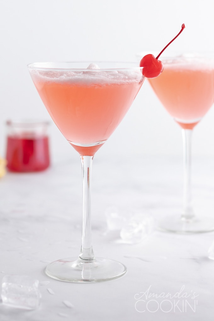 pink lady cocktail in martini glass