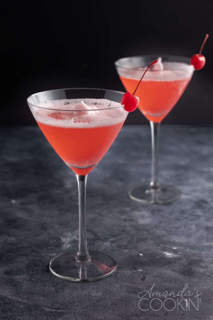 two pink ladies - martini glasses
