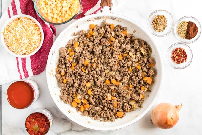 ground beef browned in a skillet