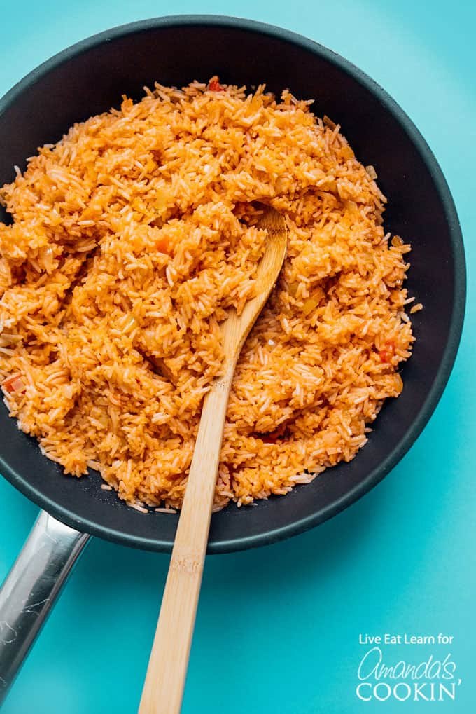 spanish rice in saute pan