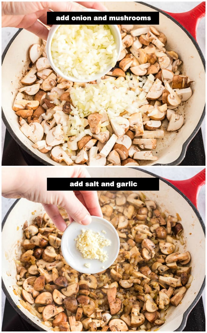 adding onion, mushrooms, and garlic to pan
