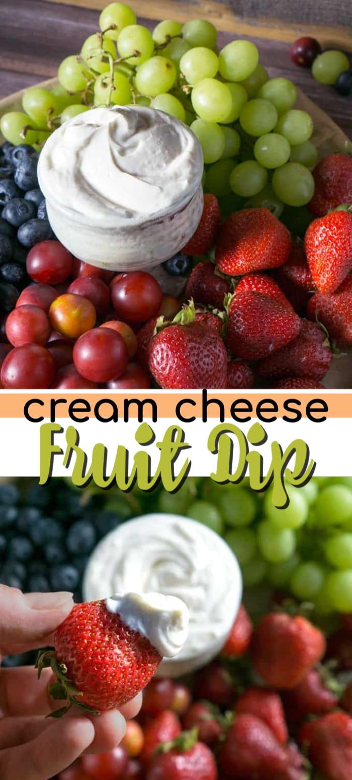 cream cheese fruit dip pin image