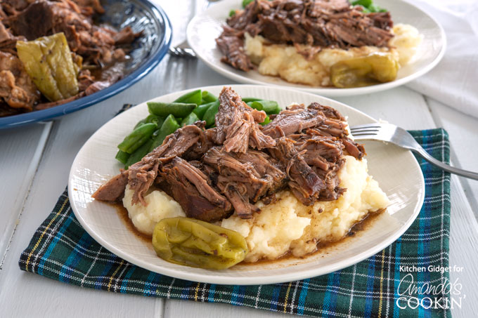 Mississippi Roast over mashed potatoes with green beans