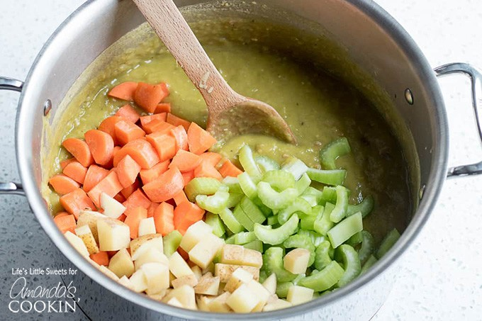 Veggies in stock pot for split pea soup