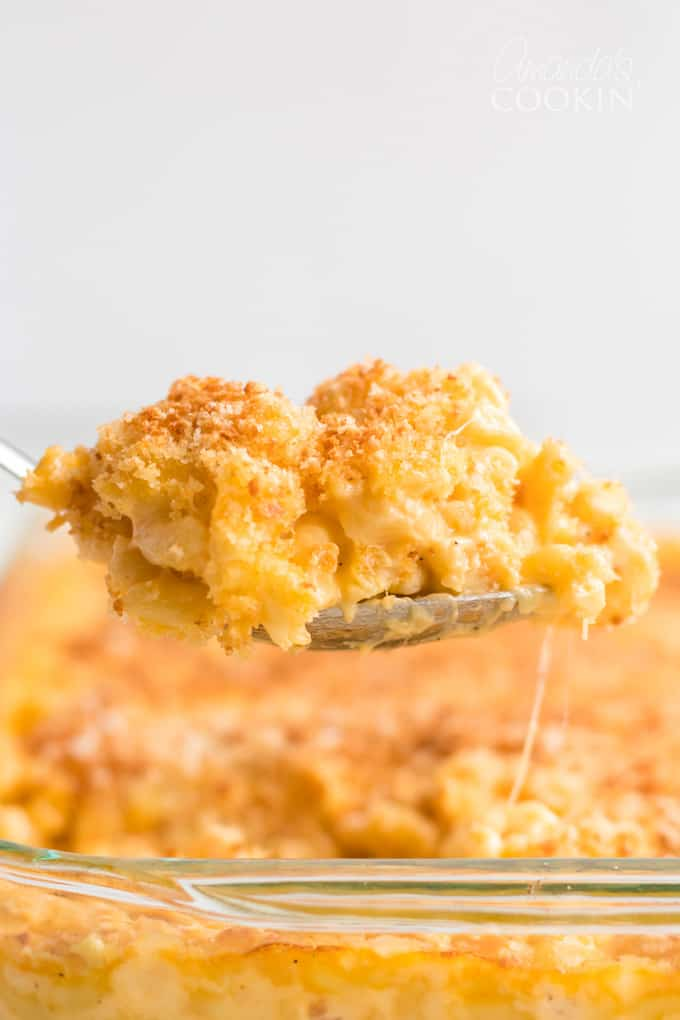 baked macaroni and cheese on a serving spoon