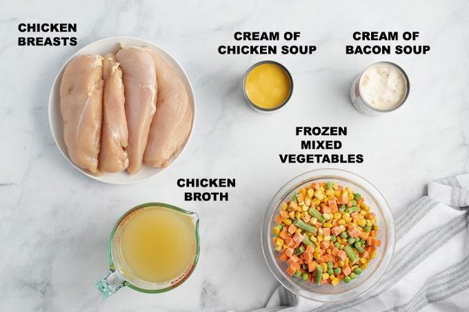ingredients - chicken, soups, frozen vegetables