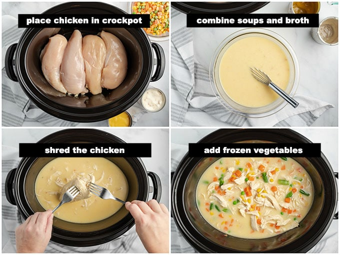crockpot with chicken and broth and vegetables