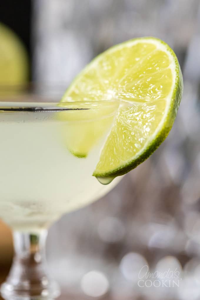 close up of gimlet cocktail in coupe glass with lime wheel garnish
