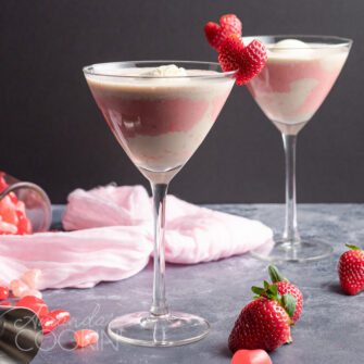 pink mudslide with strawberry heart garnish