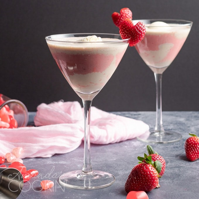 pink mudslide with strawberry heart garnish