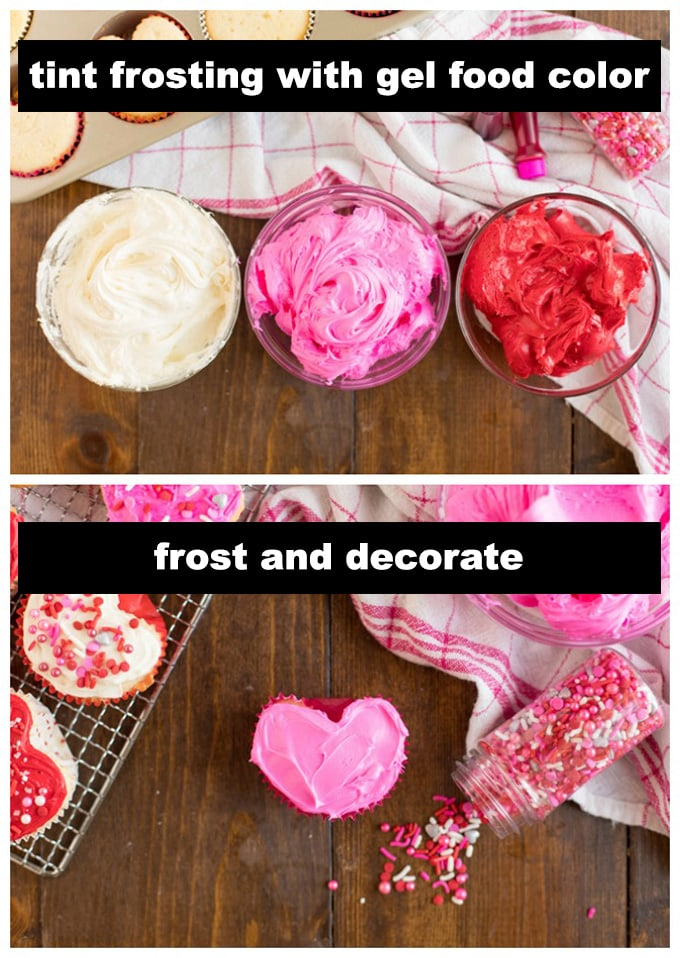 red, pink, and white frosting