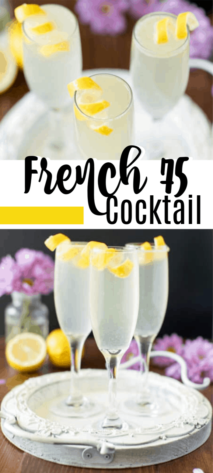 French 75 cocktails garnished with lemon twists