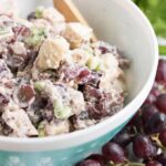 bowl of chicken salad with grapes
