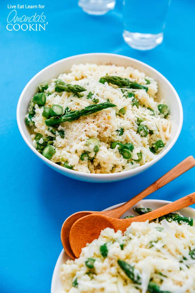 Cauliflower risotto with asparagus
