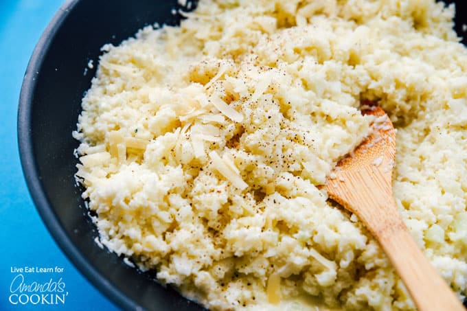 Cauliflower risotto in saute pan