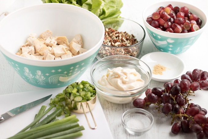 ingredients for making chicken salad with grapes
