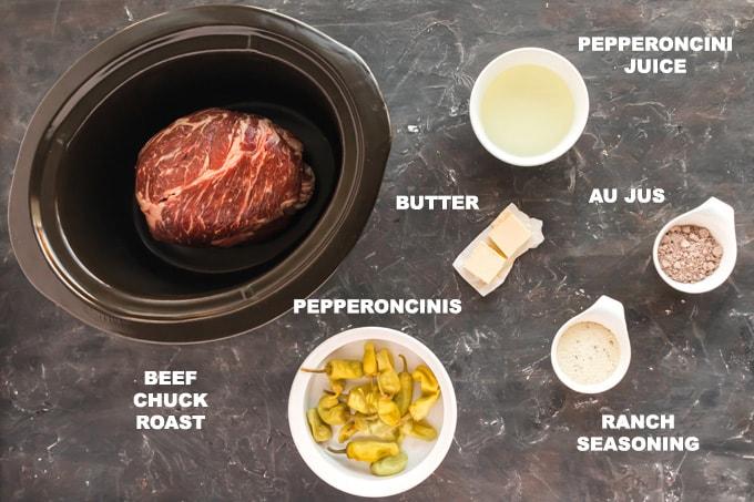 ingredients for mississippi roast