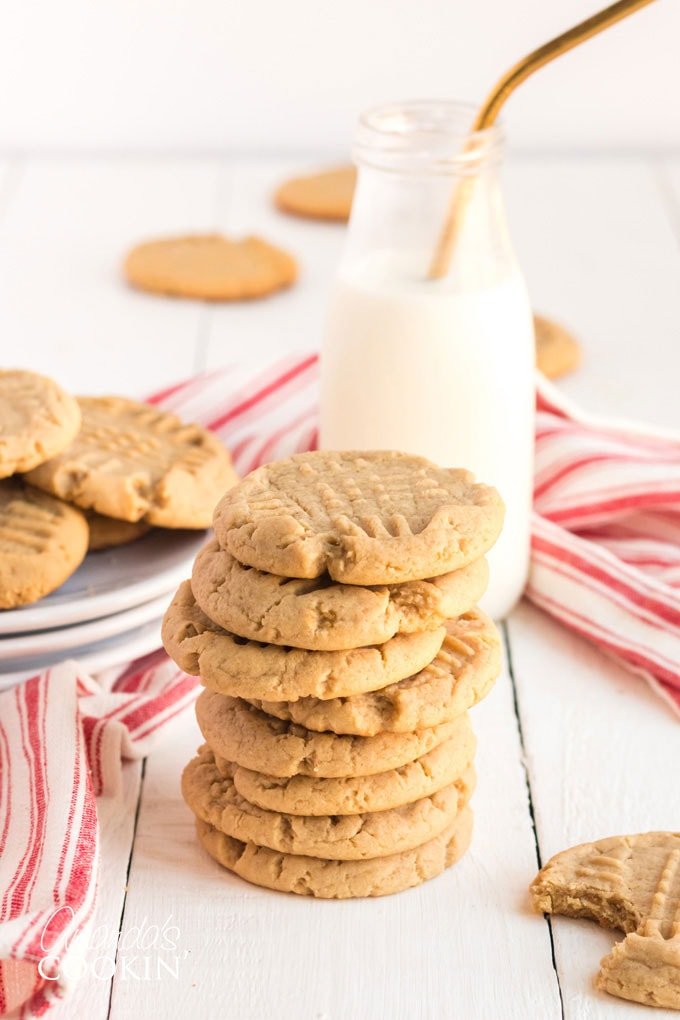 stack of soft peanut butter cookies