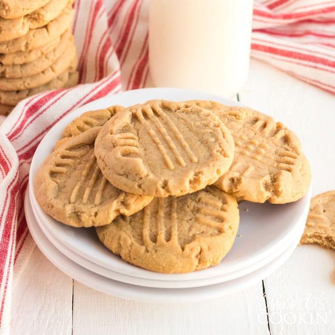 plate of peanut butter criss cross cookies