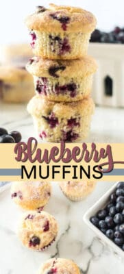 blueberry muffins pin image