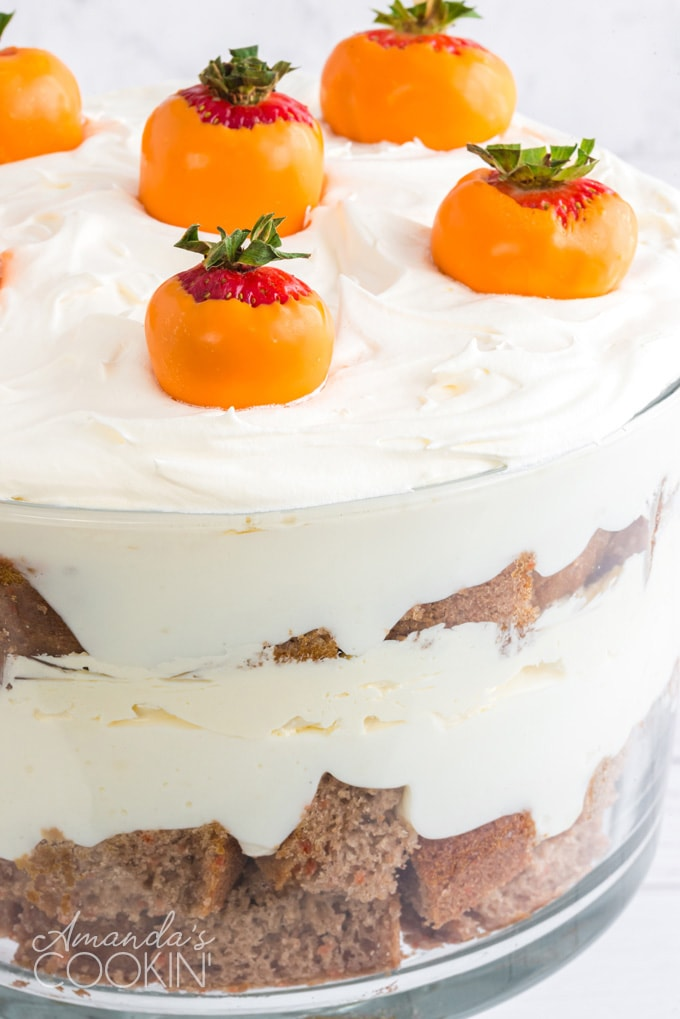 close up of carrot trifle layered dessert