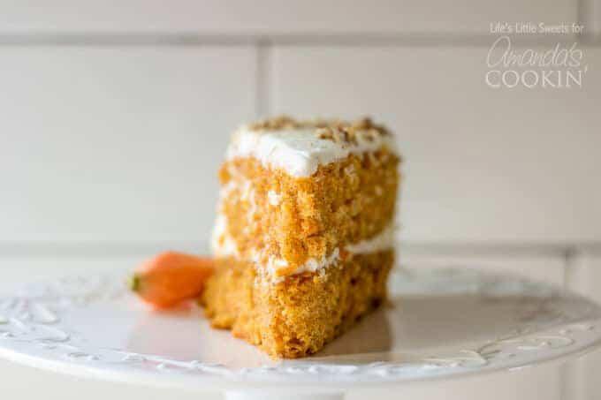 carrot cake slice on plate