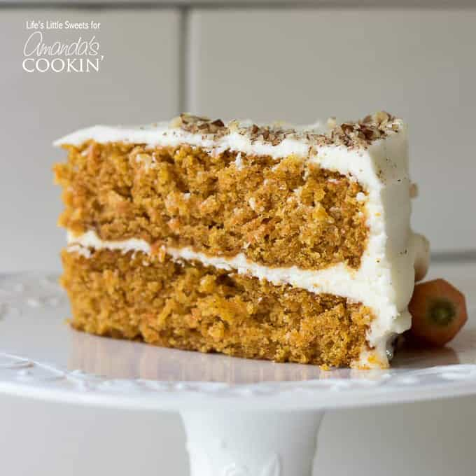2 tiered carrot cake slice