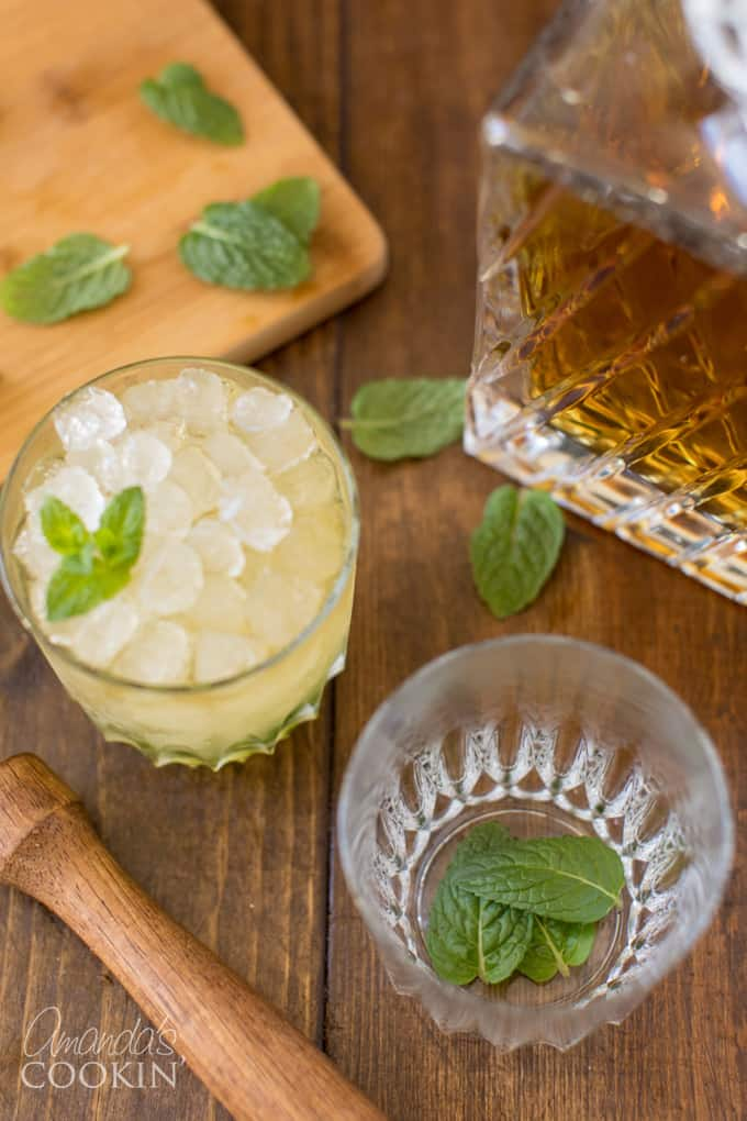 mint leaves in a high ball glass