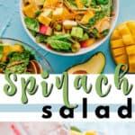 summer spinach salad pin image