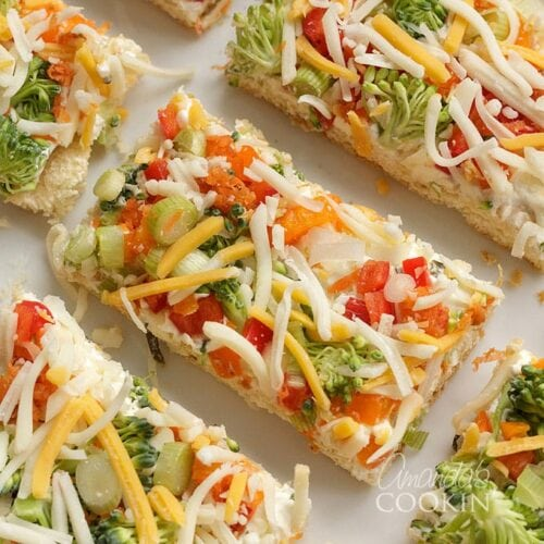 overhead photo of appetizer veggie pizza square