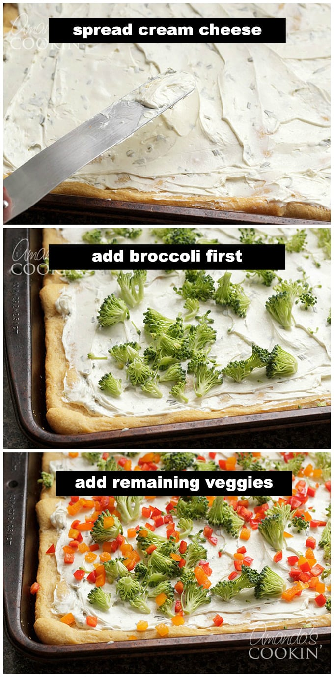 spreading cream cheese and adding raw vegetables