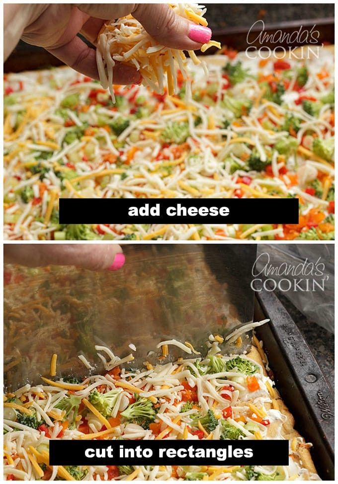 adding cheese to crescent roll pizza