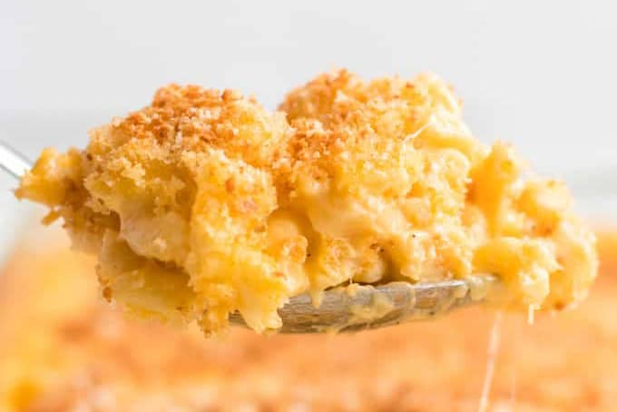 spoonful of baked mac and cheese