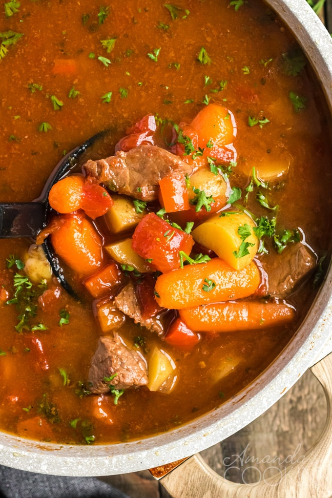 goulash stew in a pan