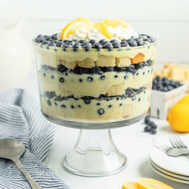side view of lemon blueberry trifle
