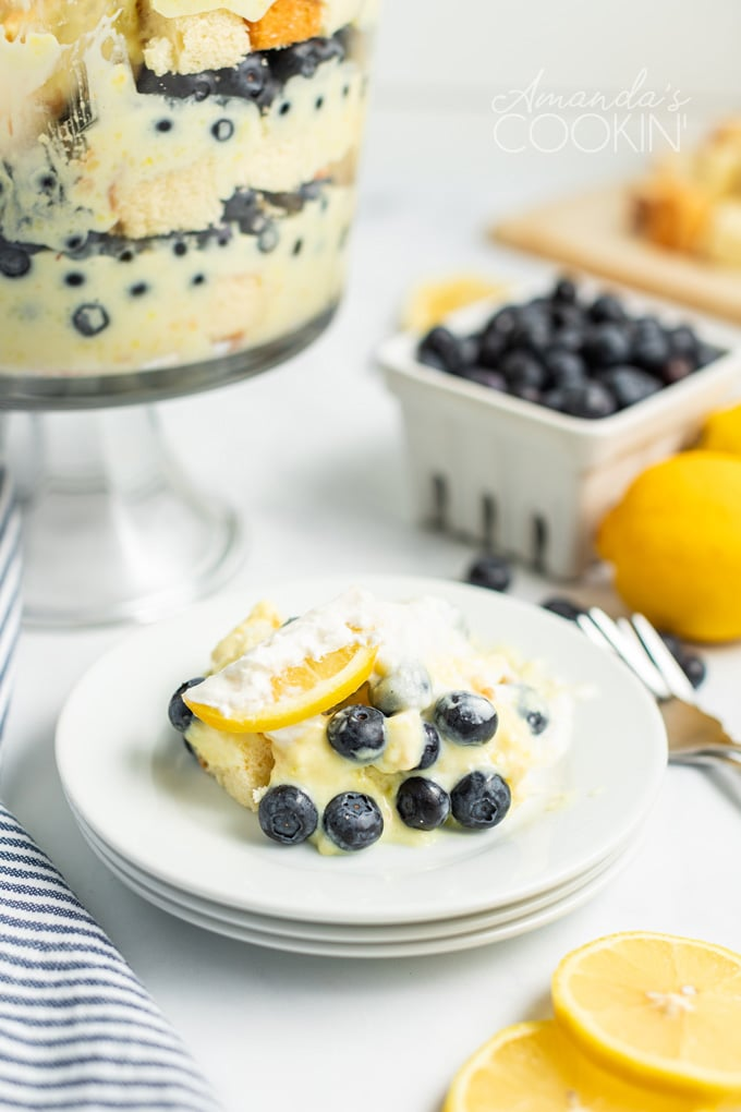 helping of lemon blueberry trifle on a plate