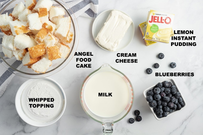 ingredients needed to make lemon blueberry trifle