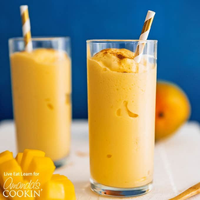 glass of Mango smoothie with straw