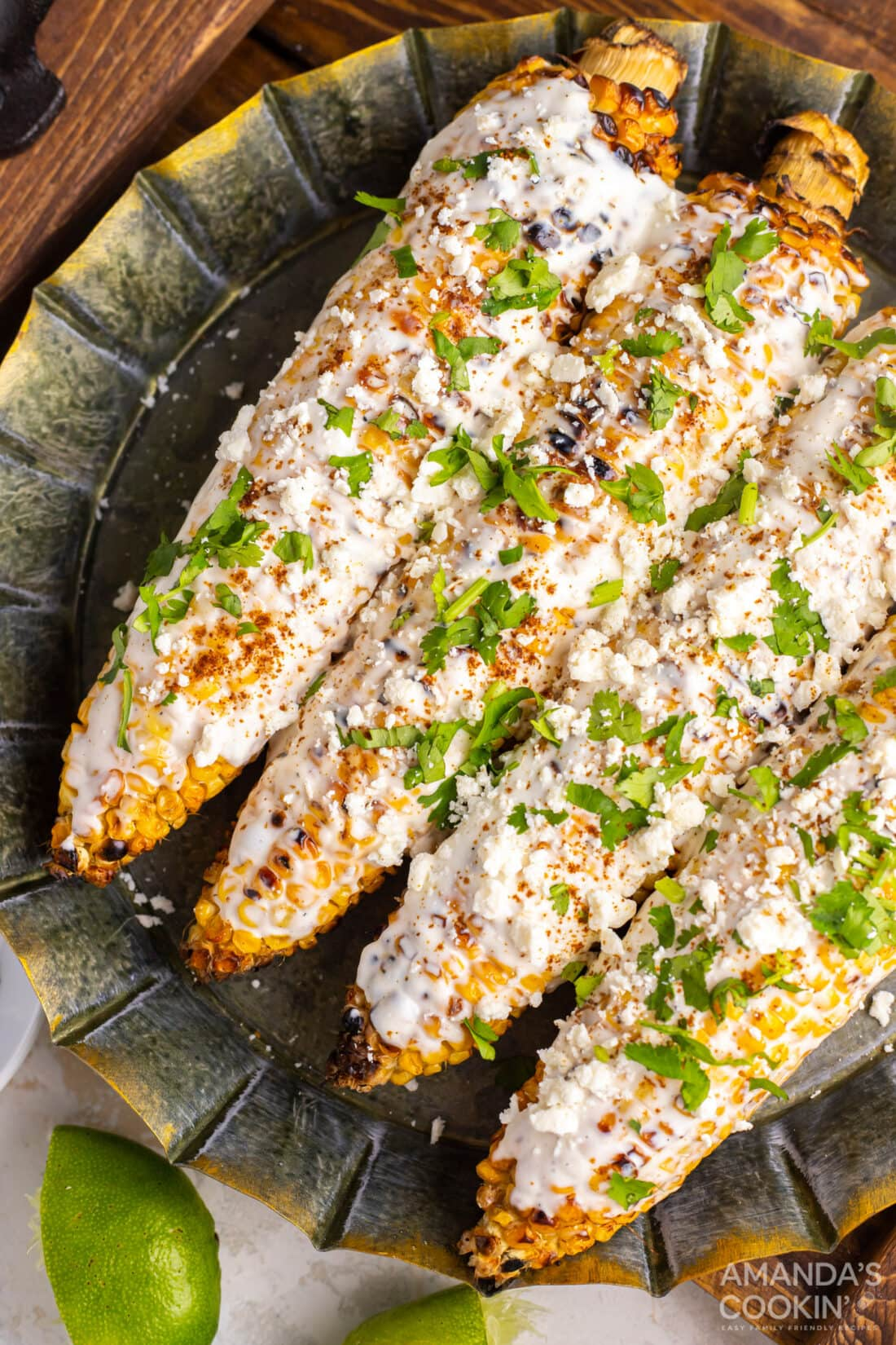 plate of mexican street corn