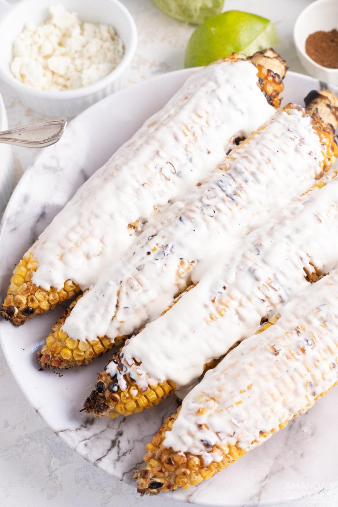 mayo on corn cobs