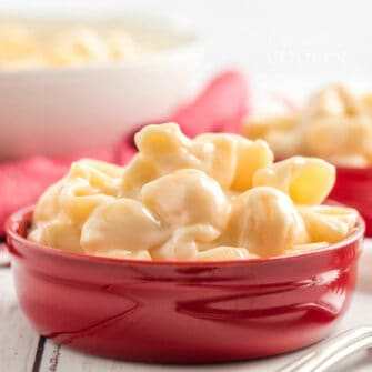 red bowl filled with copycat panera mac and cheese