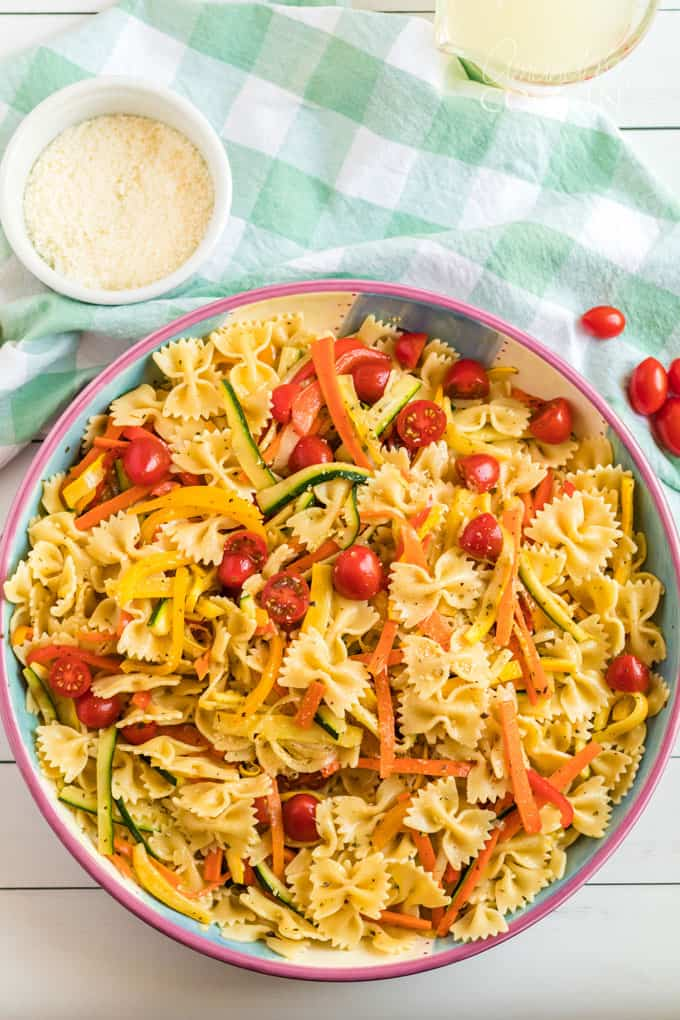 big bowl of pasta primavera on table