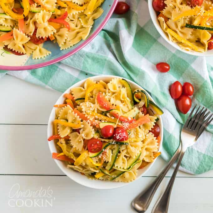 pasta primavera in a bowl with fork