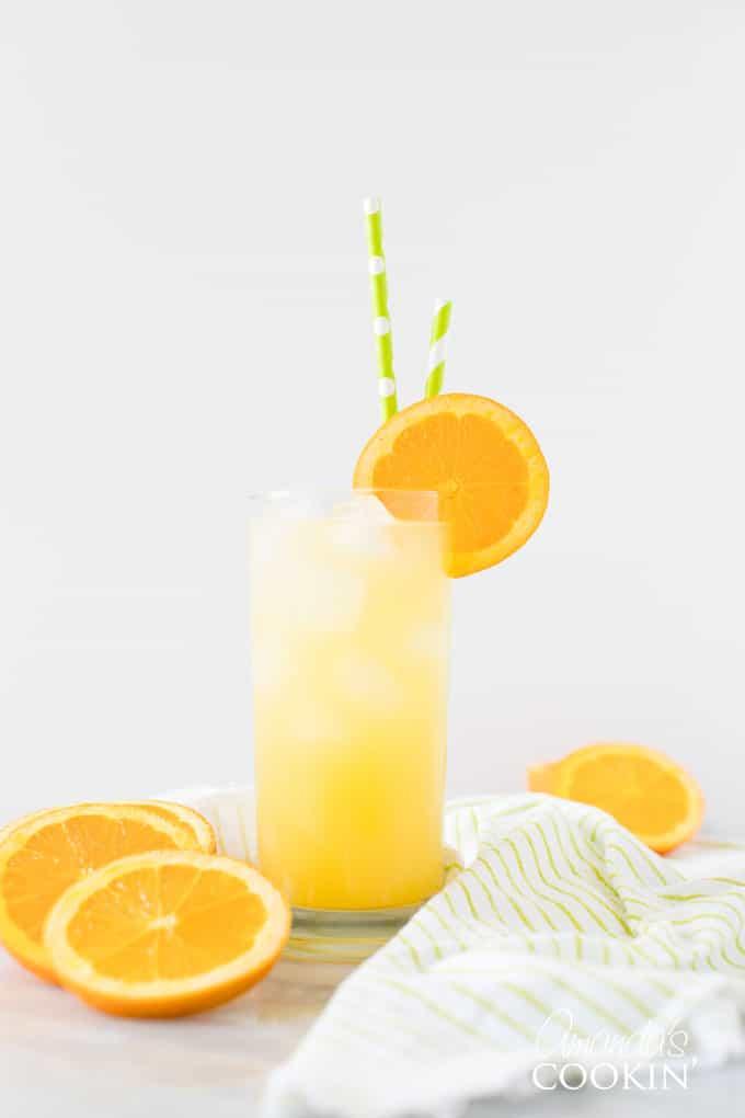 screwdriver drink in highball glass with slice or orange garnish
