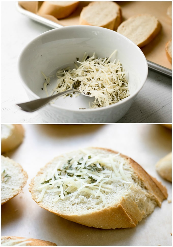 topping bread with cheese