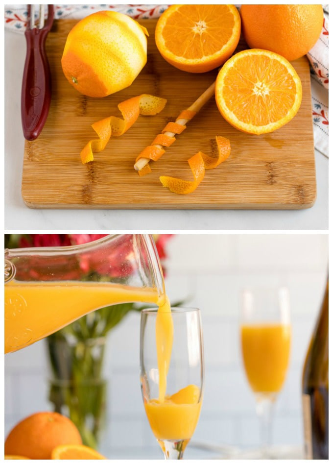 pouring orange juice into champagne flute