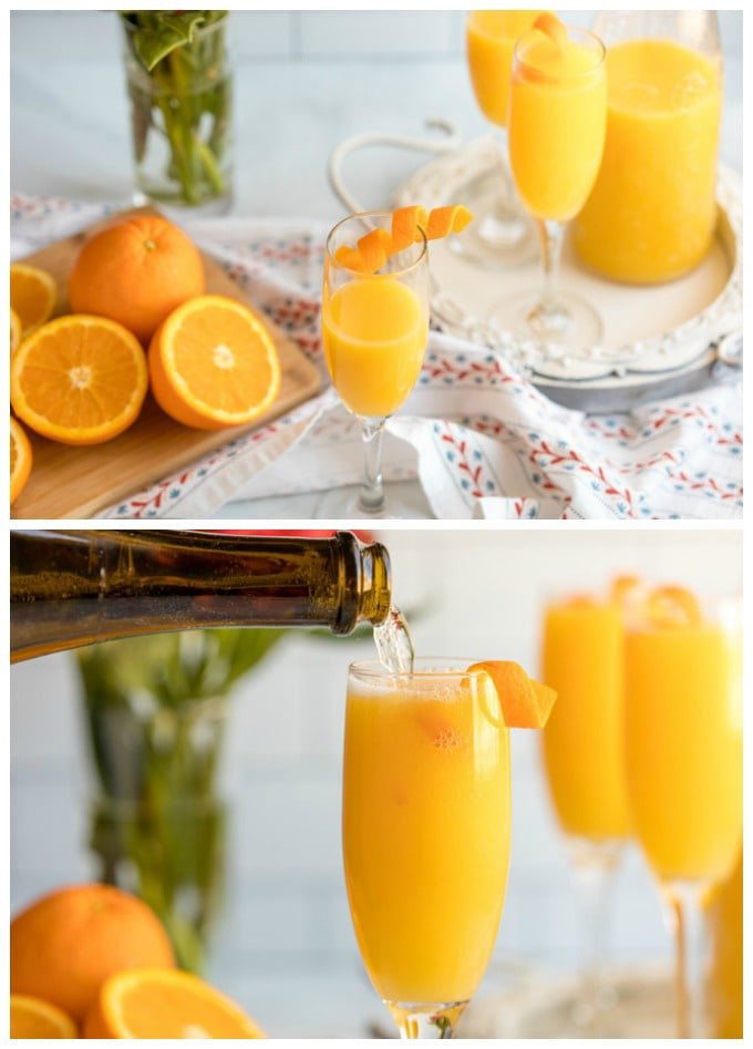 topping off orange juice with champagne
