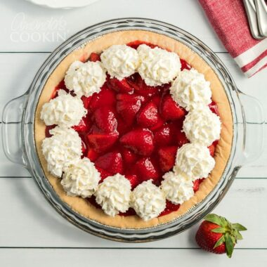strawberry pie - overhead shot
